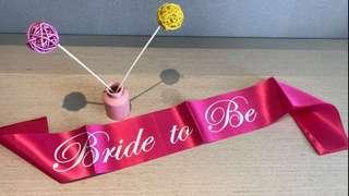 Bride to be pink satin sash