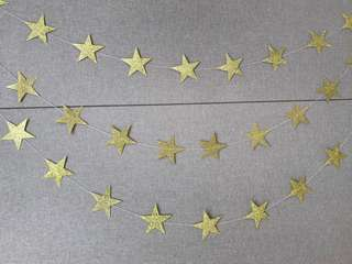 4m glitter gold star garland