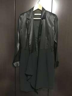 Authentic Bobby Chng (local designer) Black Asymmetric Satin Dress Coat