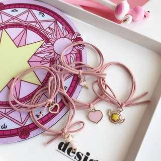 🚚 萌系日韓少女髮圈兒童髮圈🌸現貨優惠 小櫻可愛粉紅髮圈 手環
