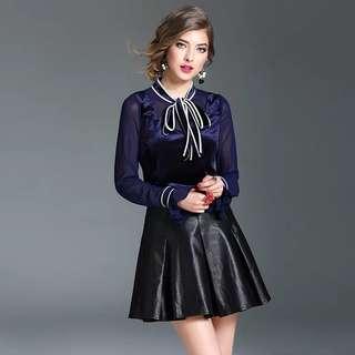 Navy velvet patchwork blouse shirt top