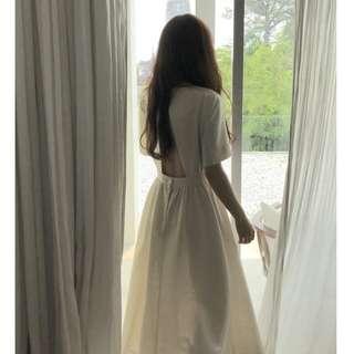 氣質燈籠袖泡泡袖設計唯美露背洋裝