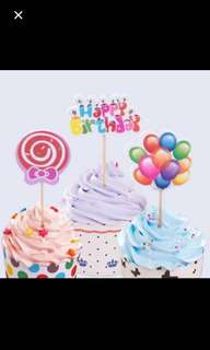 12 pieces $1.00: Birthday party cake topper