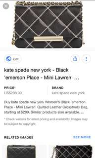 Kate spade diamond shape hang bag