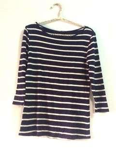 REPRICE Authentic Zara Navy Stripe Sleeves