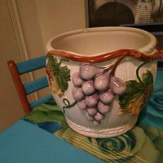 Flower pot. Very old. Hand painted.
