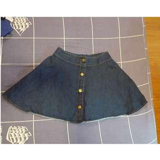 🚚 可愛鬆緊帶褲頭排扣裝飾顯瘦牛仔裙A字裙