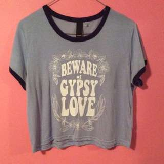 """Beware The Gypsy Love"" Slogan Crop Top"