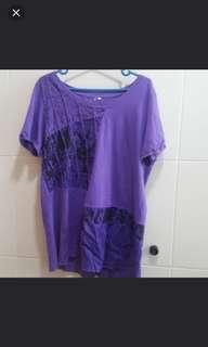 Ladies Purple long Tee