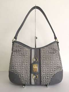 New! Tommy Hilfiger Women's Silver/Grey Hobo Purse Shoulder Bag Authentic