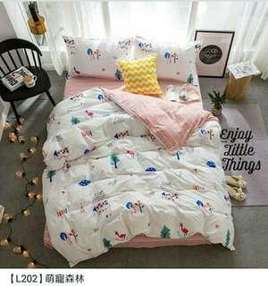 🚚 [萌寵森林]雙人水洗棉床套平單組