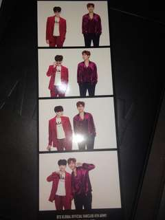 BTS 4th ARMY Zip Photocard (Suga and RM)