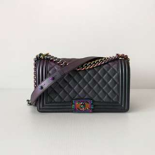 Authentic Chanel Boy Medium Iridescent Purple Mermaid