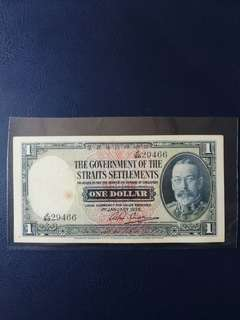 Singapore old note $1 dtd 1935  Good vf/EF but stains