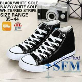 HIGH CUT SNEAKERS SIZE 35-44 CANVAS SHOES WHITE BLACK NAVY SG LOCAL RETAILER