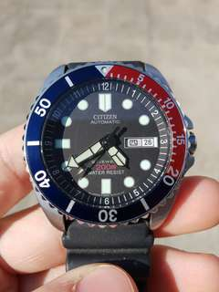 Jam tangan Sporty Citizen Diver Pepsi Bezel Full Box and Paper