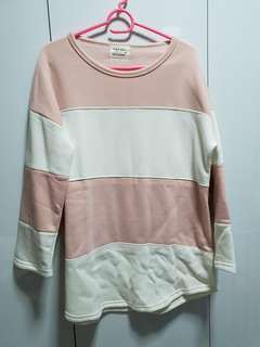 Pink white stripe sweater