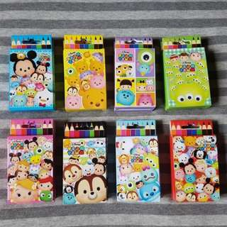 [8 designs!] Disney Japan Tsum Tsum - Colour pencils Colouring Set Children Goodie bag Birthday Party prizes