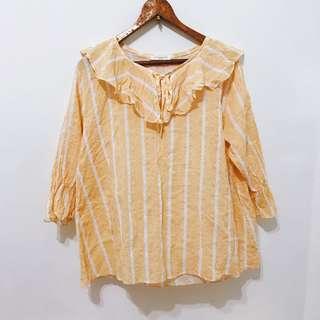 🚚 鵝黃春夏棉麻衫