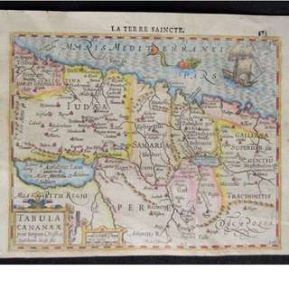 1614 Antique map of Holy land... 400+ years old!! Hondius / Mercator – Tabula Cananae (..)