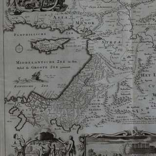 1714 antique map of holy land; DE GELEGENTHEYT VAN T PARADYS EN T LANDT CANAAN (..)