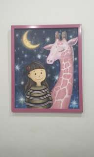 Girl & Giraffe Painting