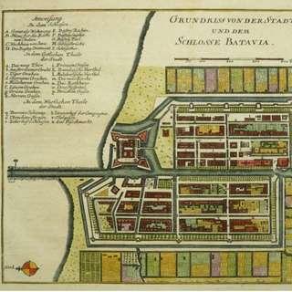 1790 antique map of Jakarta (Batavia): Grundriss von der Stadt und dem Schlosse Batavia by S.J. Baumgarten & J.S. Semler