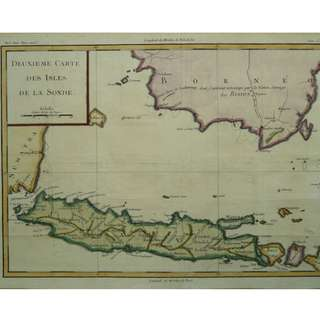 1750 antique map of Indonesia Deuxieme Carte des Isles de la Sonde by Jacques Nicolas Bellin
