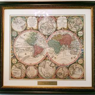 1735 antique world map by Matthias Seutter (augsburg, Germany); Diversi Globi Terr-Aquei Statione variante (…)