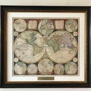 1715 rare antique worldmap in museum glass framing from Petrus Schenk - Amsterdam: Diversa Orbis Terrae. Visu incedent per coluros tropicorum