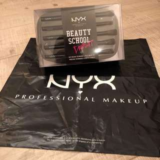 Brand New Auth NYX Beauty School Dropout Cut Crease Technique Brush Set