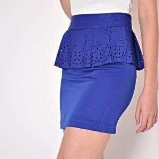 (NO TRADES) 🆕 Fairebelle Hey Pretty! Cutout Peplum Skirt (Cobalt Blue, size M)