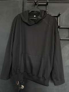 Black Boxy Hoodie Jacket with Slit