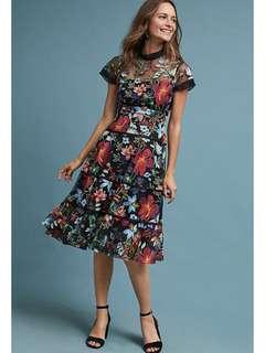 PO - mesh floral embroidery short sleeve boho vintage retro slim party dress