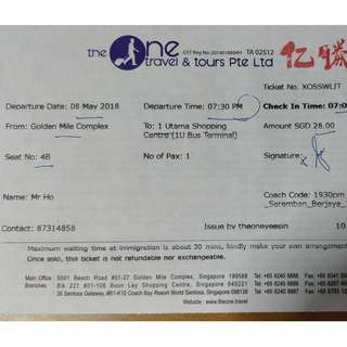 BUS Ticket from SG to KL (8 March 2018)