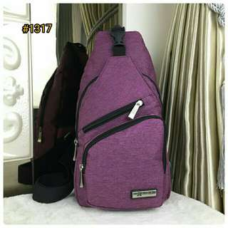Tas selempang Casual Side Sling Shoulder Chest Bag with USB Port Changer