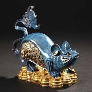 【禮贊精品文物館·子鼠·彩銅蝙蝠鼠】銅雕彩銅子鼠12生肖天干地支典藏文物意境開運招財擺設居家生活美化環境