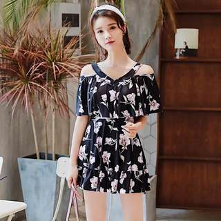 Floral V Neck Cold Shoulder 1 Piece Dress Swim Wear Plus Size Available