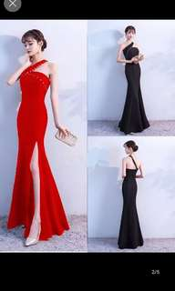 Red or black toga long evening dress gown