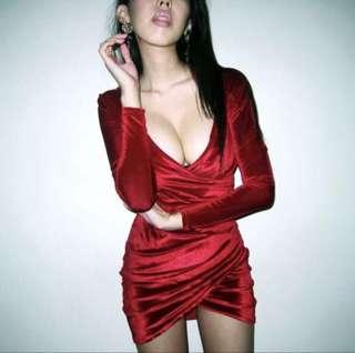 Velvet Red Party Dress