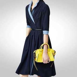 🔱⏳ Designer Inspired Duo tonal Lapel wrap flare Dress