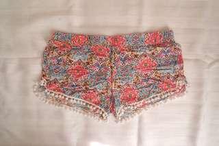 Printed shorts//花花短褲
