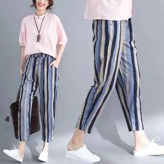 2018 summer art large color vertical striped cotton loose casual pants harem pants nine pants