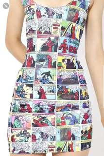 Black Milk cheeky 'Woman in Red' comic print dress