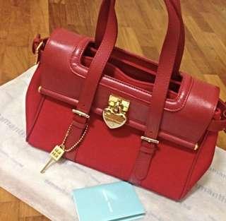 Samantha Thavasa Red Leather/Canvas Bag