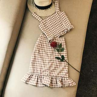 Gingham Ruffle Two Piece Set