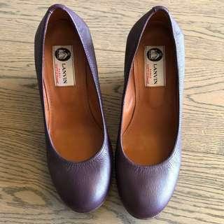 Lanvin 磨沙真皮船踭鞋