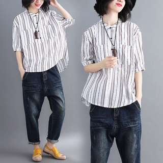 Large size loose thin shirt vertical stripes T-shirt