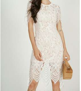 MDS Peekaboo Floral Lace Dress in White Size XS