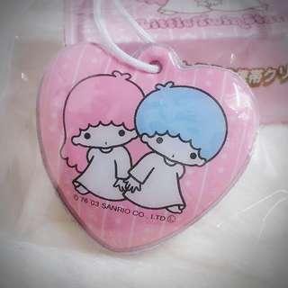 Little Twin Stars 2003年 手機畫面專用抹布心型掛牌 Sanrio Product 日本空運 日本版 珍藏 紀念 小禮物 小吊飾 掛飾(雙星仙子,KiKi&LaLa)(リトルツインスターズ)